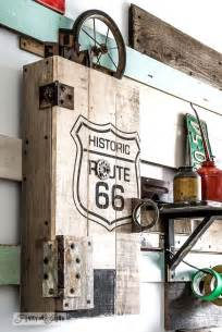 Historic route 66 stencil with pallet wood storage cabinetfunky junk