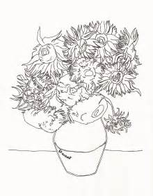 gogh coloring pages sunflowers vangogh coloring pages