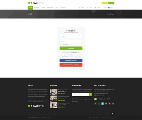 themeforest login page realesto real estate psd pack by designinvento themeforest