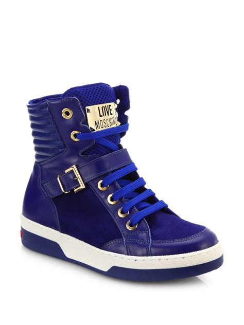 moschino sneakers moschino leather suede high top buckle sneakers in