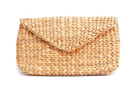 Clutch Handmade - mini vintage handmade knit bamboo rattan straw clutch bag