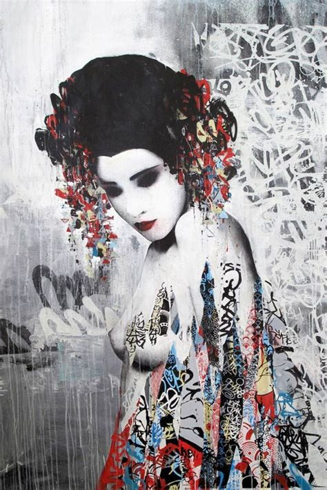 japanese geisha drawings geisha street art by hush illustration girls
