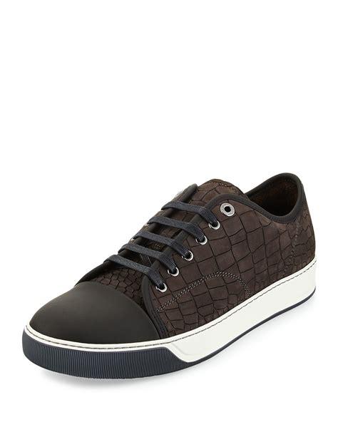 lanvin s sneakers lanvin mens croc embossed leather low top sneaker in gray