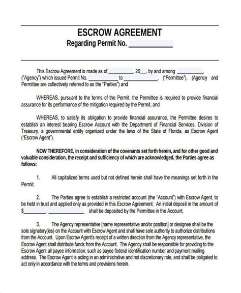 escrow agreement template sle escrow agreement forms 9 free documents in word pdf