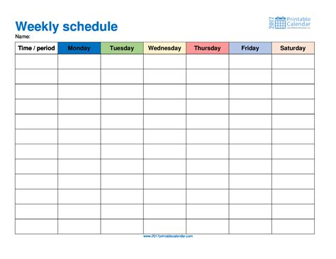 Weekly Schedule Template 2017 Printable Calendar Monthly Schedule Template