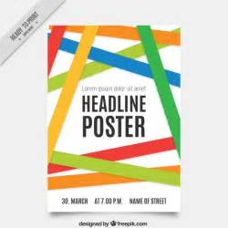 poster template with colored bands vector premium