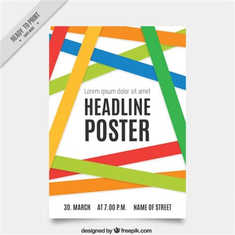 poster template with colored bands vector premium download