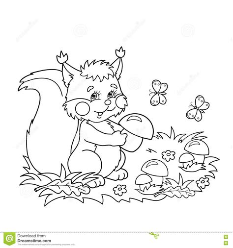 butterfly meadow coloring pages coloring page outline of cartoon squirrel with mushrooms