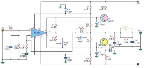 2n3055 transistor lifier circuits 35w lifier circuit electronic circuit diagram and layout