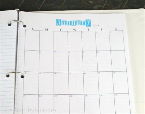 printable planner pages for 3 ring binder free printable calendar for 2014