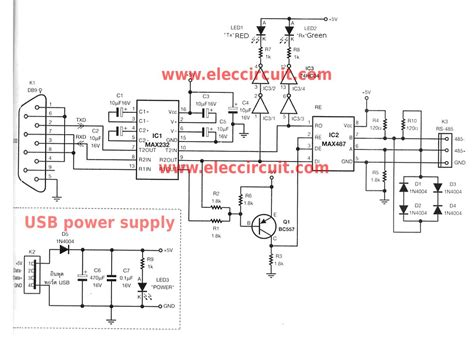 rs232 to rs485 converter circuit diagram rs232 to rs485 converter circuit using max487