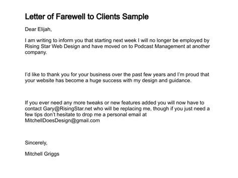 Letter of farewell to clients sample