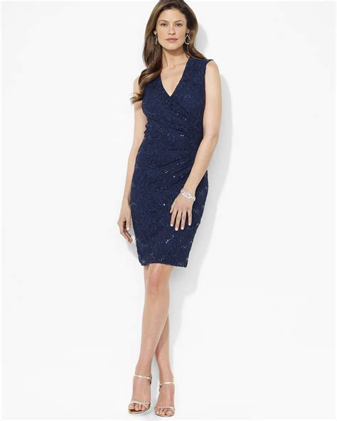 blue martini uniform marein lauren ralph lauren embellished lace sheath dress