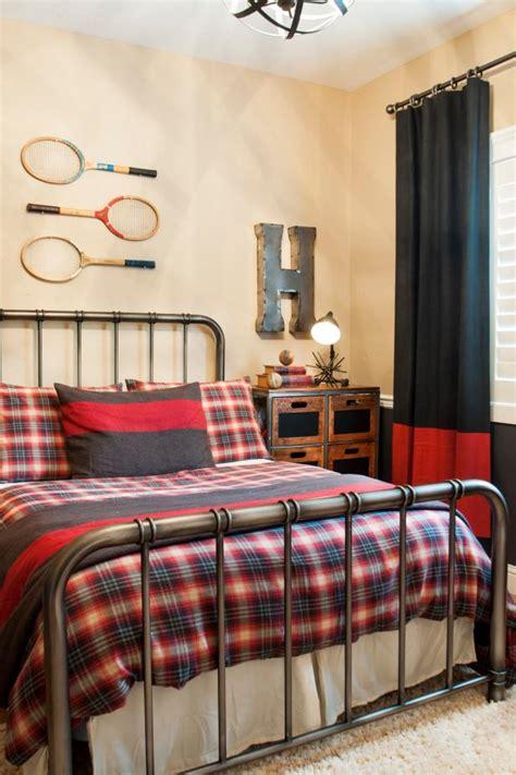rustic teen bedroom  antique tennis racquet artwork