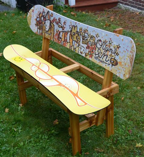ski bench recycled snowboard bench