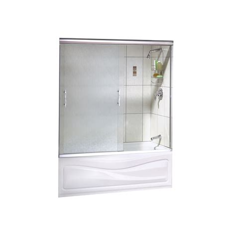 Sliding Glass Shower Doors Lowes Shop Maax Vibe 2 Panel Frameless Sliding Tub Shower Door With Textured Glass At Lowes