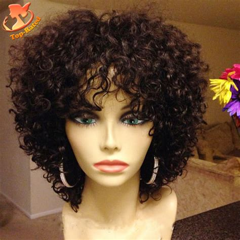 Kinky Curly Short Weaves For Black Woman | full lace short human hair wigs for black women afro kinky