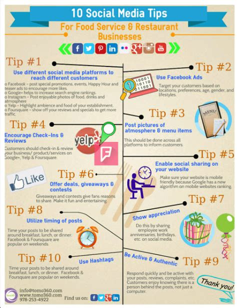 service tips 10 social media tips for food service and restaurant businesses infographic tomo360
