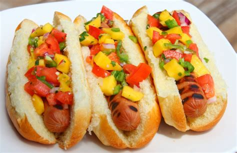 mango and dogs mango salsa on grilled dogs dinner 4 two