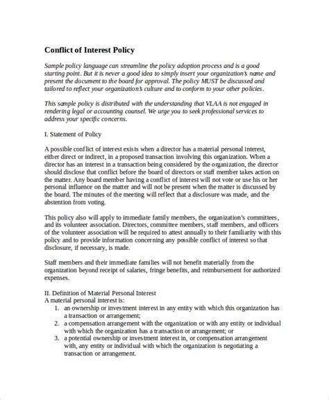 conflict of interest policy template policy template 10 free word pdf document downloads