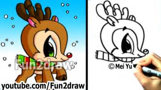 how to draw christmas stuff how to draw a reindeer cute