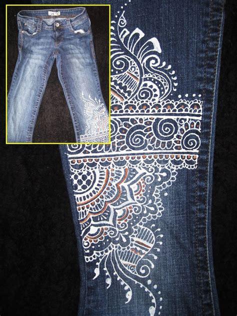 golden pattern jeans l e i jeans junior 5 hand painted mehndi henna design