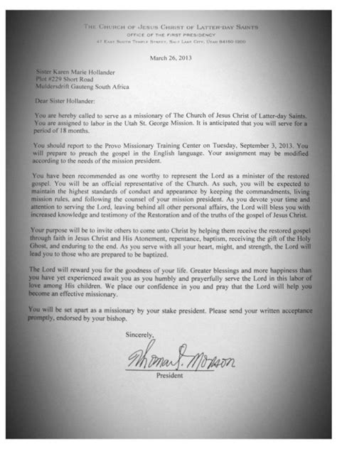 Lds Mission Call Letter