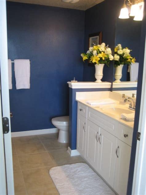 dark blue bathrooms dark blue bathroom homey things pinterest