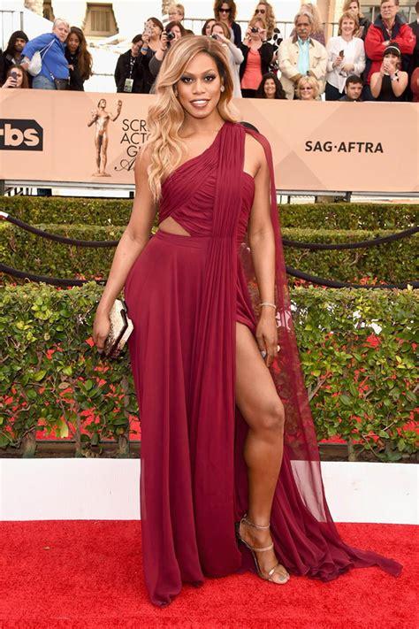 burgundy color prom dress laverne cox burgundy one shoulder prom dress sag awards