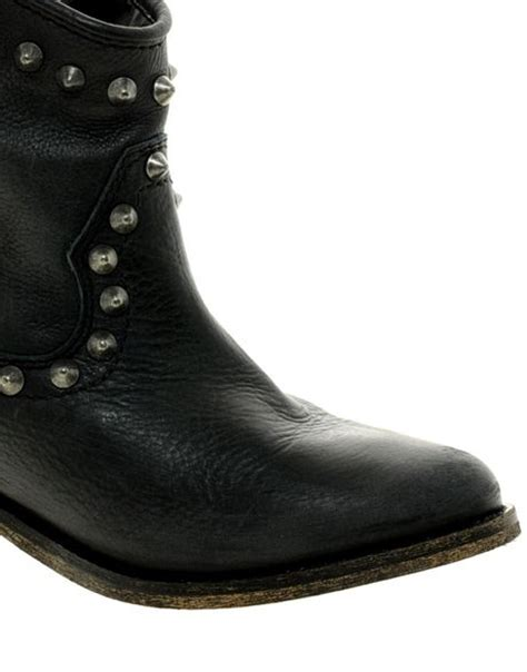 river island western stud ankle boots in black lyst