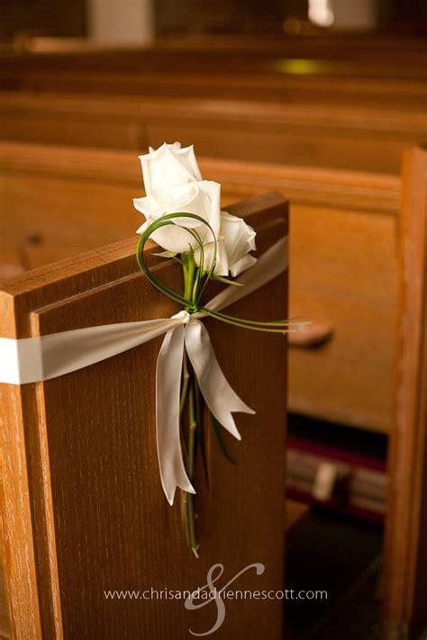 church pew decorations  simple   Cinco de Mayo Wedding