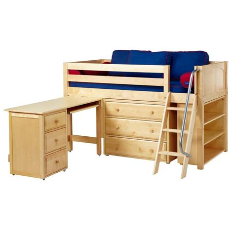 Bunk Bed With Desk And Dresser Kicks Low Loft Bed With Dressers Bookcase And Desk