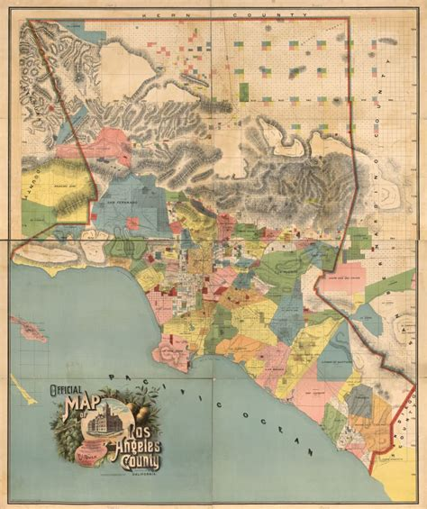 map of los angeles county colorful map shows l a as a patchwork of rancho era land grants