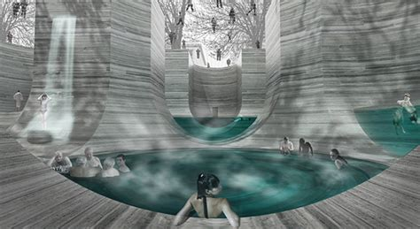 underground bathtub underground thermal bath on behance