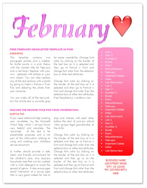 free february newsletter template by worddraw com