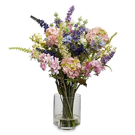 artificial flower arrangements for bathroom nearly natural lavender hydrangea silk flower