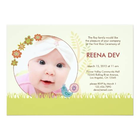 baby rice ceremony invitation card template free rice ceremony floral garden invitation zazzle