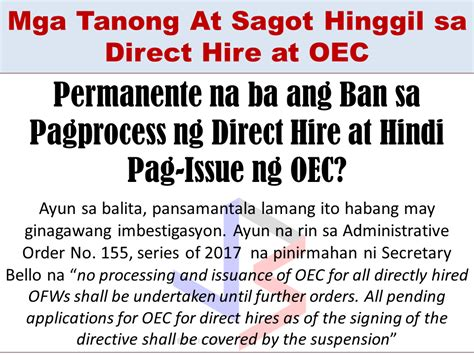 Or Question Tagalog Tagalog Post Questions And Answers About Ofw Direct Hire And Oec