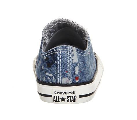 Sepatu Converse Low Grey Denim Unisex Converse All Low Infant Ash Grey Casino Black Denim