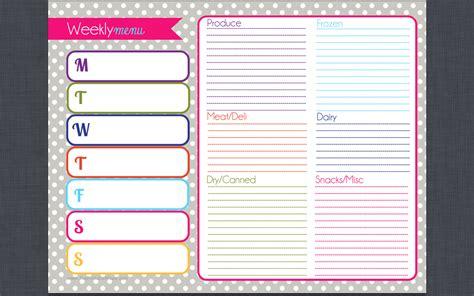 printable weekly menu planner the good hearted woman