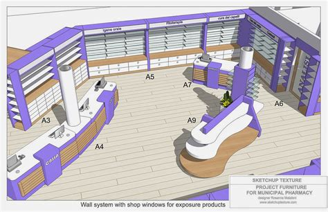 layout designer sketchup texture how to design a modern pharmacy 3d