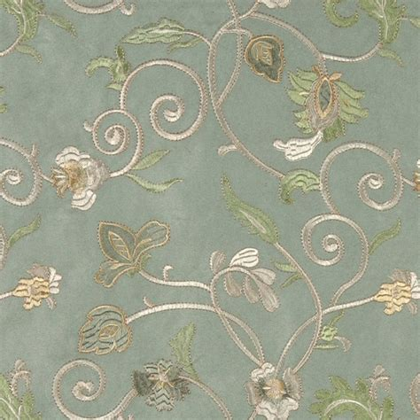 Light Green Ivory And Gold Embroidered Vines Suede