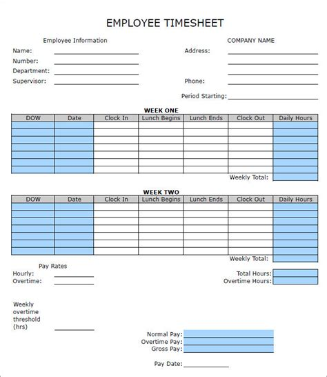 employee timesheet template free employee timesheet template with lunch templates