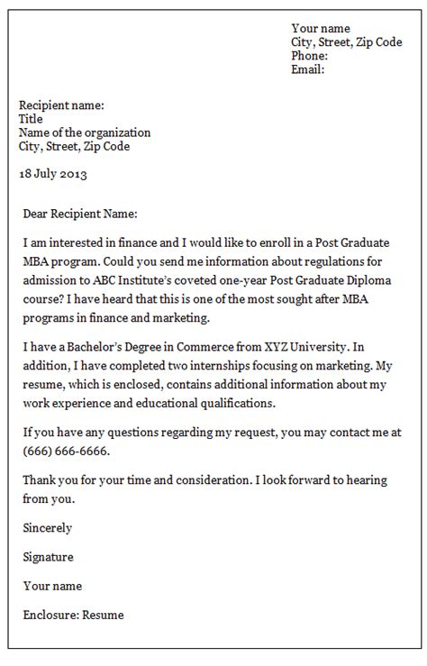 inquiry letter sample business letter template