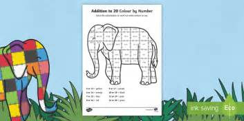 add colour themes to tagxedo elmer addition to 20 colour by numbers sheet add adding