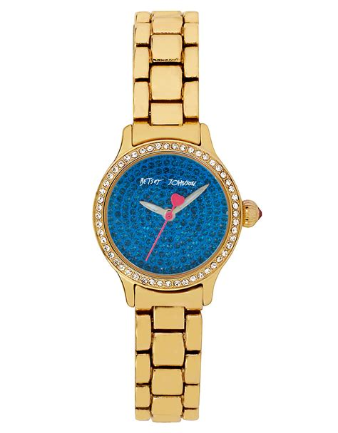 Betsey Johnson Ladies Crystallized Goldtone Mini Bracelet Watch in Blue (GOLD)   Lyst