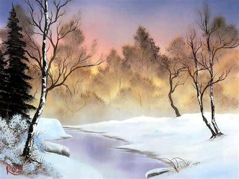 bob ross paintings snow bob ross winter stillness scenic snow