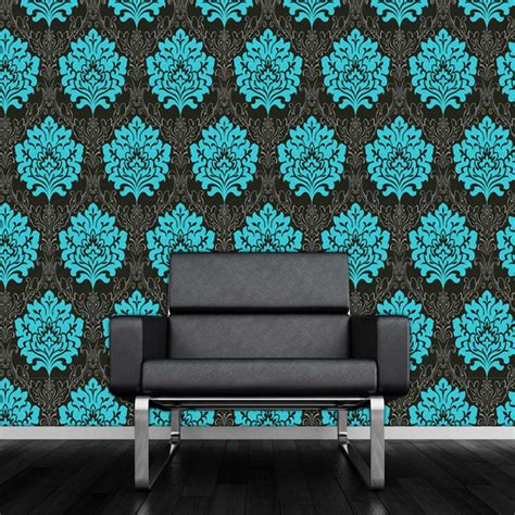 Teal And Black Wallpaper Uk | black and teal wallpaper wallpapersafari