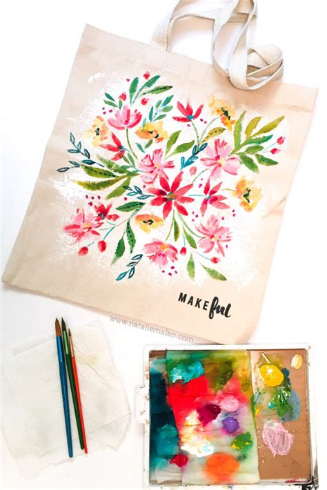 acrylic paint for canvas bags acrylic floral tote bag makeful