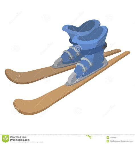 cartoon boat ski ski boots and skis cartoon illustration stock vector